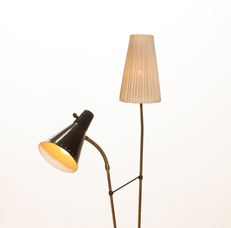 Swedish 1950s, Brass and Metal Floor Lamp by Hans Bergström for Ataljé Lyktan For Sale