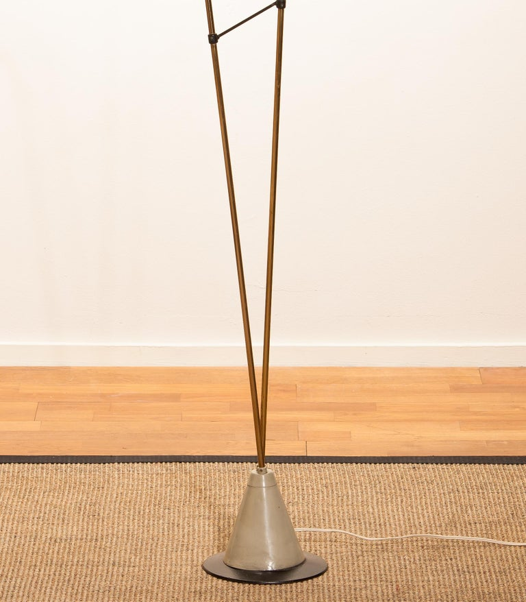 1950s, Brass and Metal Floor Lamp by Hans Bergström for Ataljé Lyktan For Sale 1