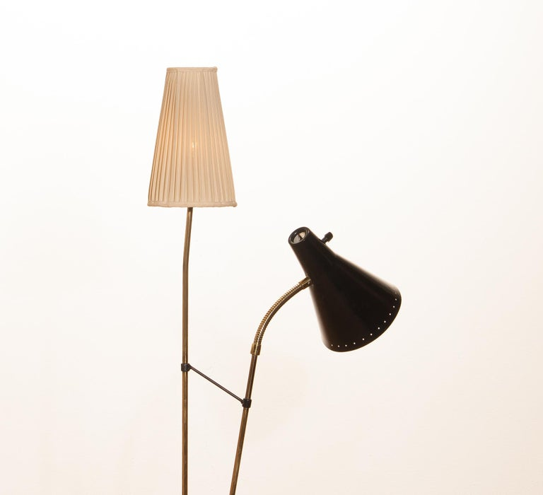 1950s, Brass and Metal Floor Lamp by Hans Bergström for Ataljé Lyktan For Sale 2