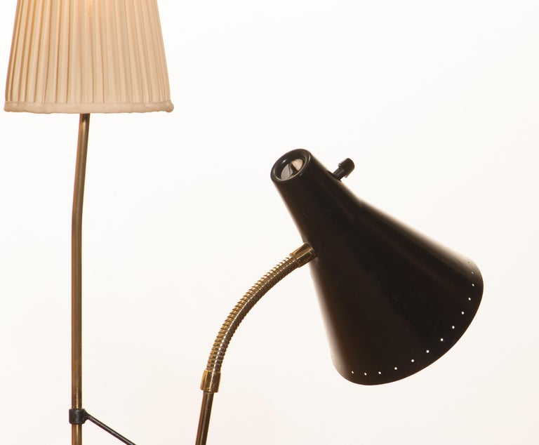1950s, Brass and Metal Floor Lamp by Hans Bergström for Ataljé Lyktan For Sale 3