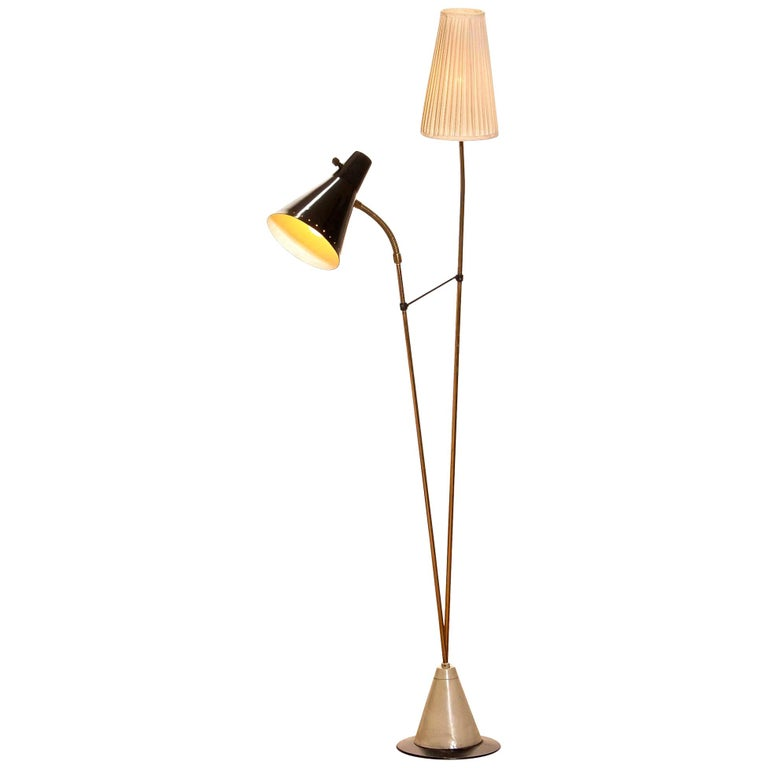 1950s, Brass and Metal Floor Lamp by Hans Bergström for Ataljé Lyktan For Sale