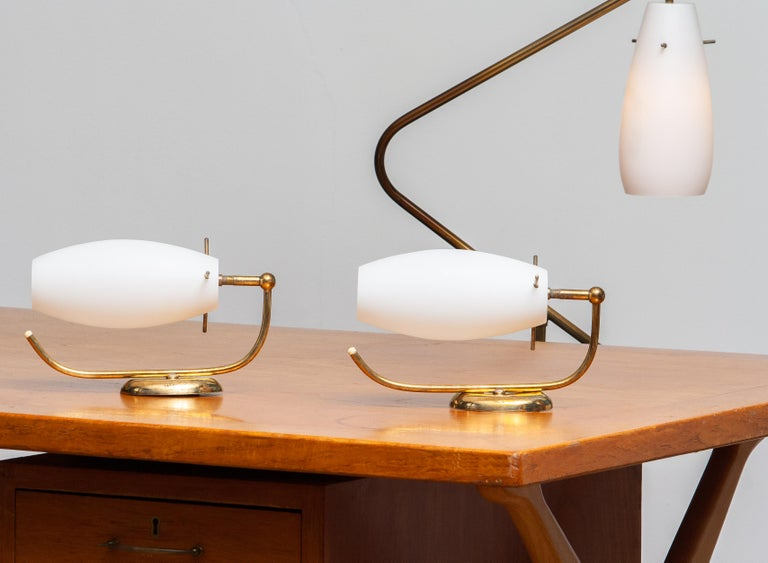 Italian 1950s, Brass and Opaline Stilnovo Floor Lamp with Two Matching Wall Lights For Sale