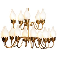 1950s, Brass and White Glass Opaline Arm Chandelier by Fog & Mørup with Tulips