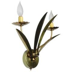 1950's Brass Botanical Sconces Lamps
