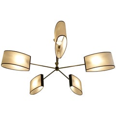 1950s Brass Chandelier with Five Lighted Arms by Maison Lunel