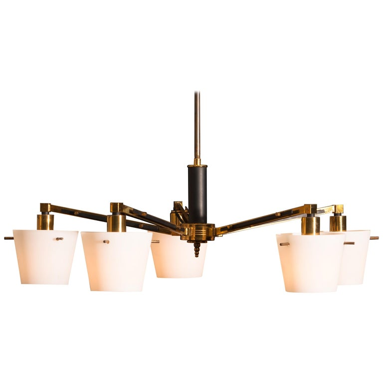 Italian 1950s, Brass Chandelier with Frosted with Glass Shades by Stilnovo, Italy