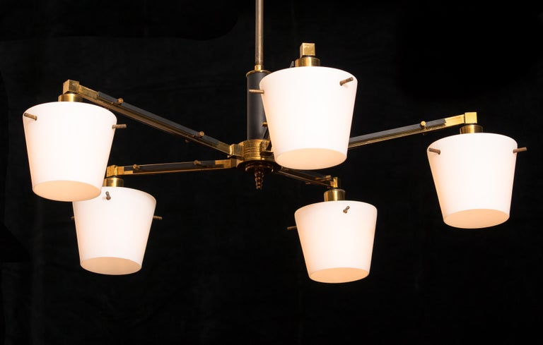 1950s, Brass Chandelier with Frosted with Glass Shades by Stilnovo, Italy In Good Condition In Silvolde, Gelderland