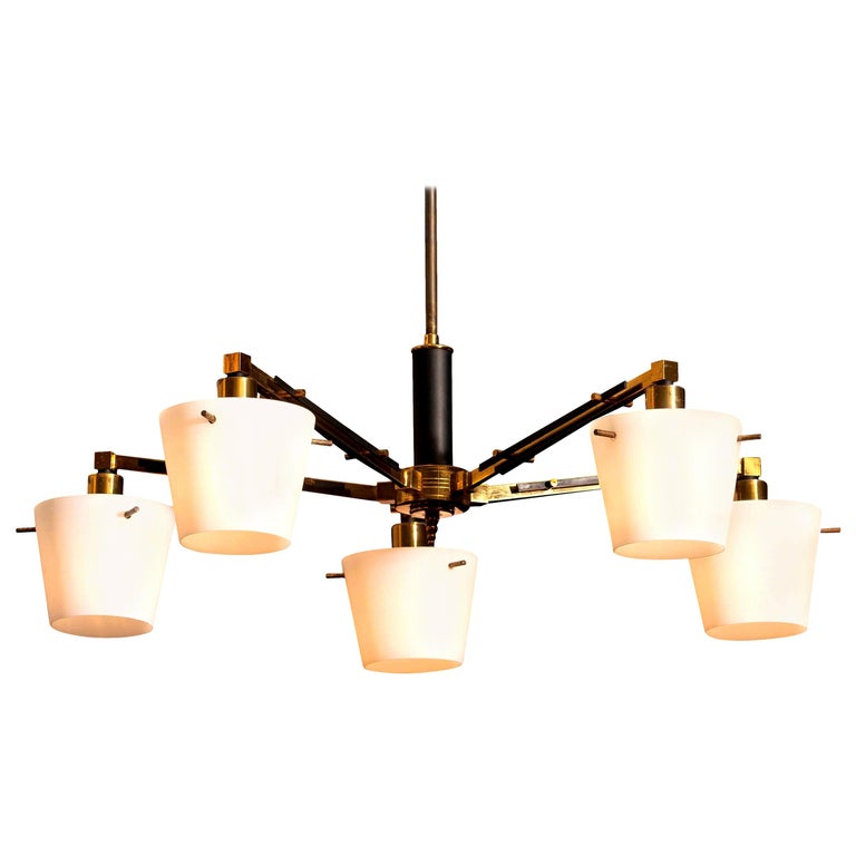 1950s, Brass Chandelier with Frosted with Glass Shades by Stilnovo, Italy