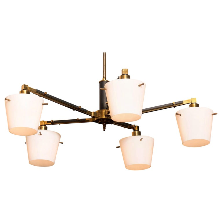 1950s, Brass Chandelier with Frosted with Glass Shades by Stilnovo, Italy For Sale