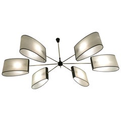 1950s Brass Chandelier with Six Lighted Arms by Maison Lunel