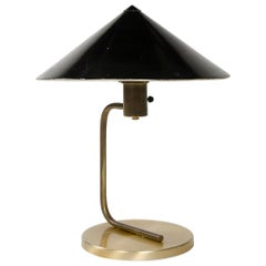 1950s Brass Desk Lamp with Black Enameled Conical Shade