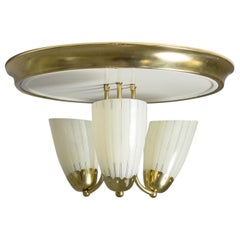 1950s Brass Flush Mount with Striped Glass