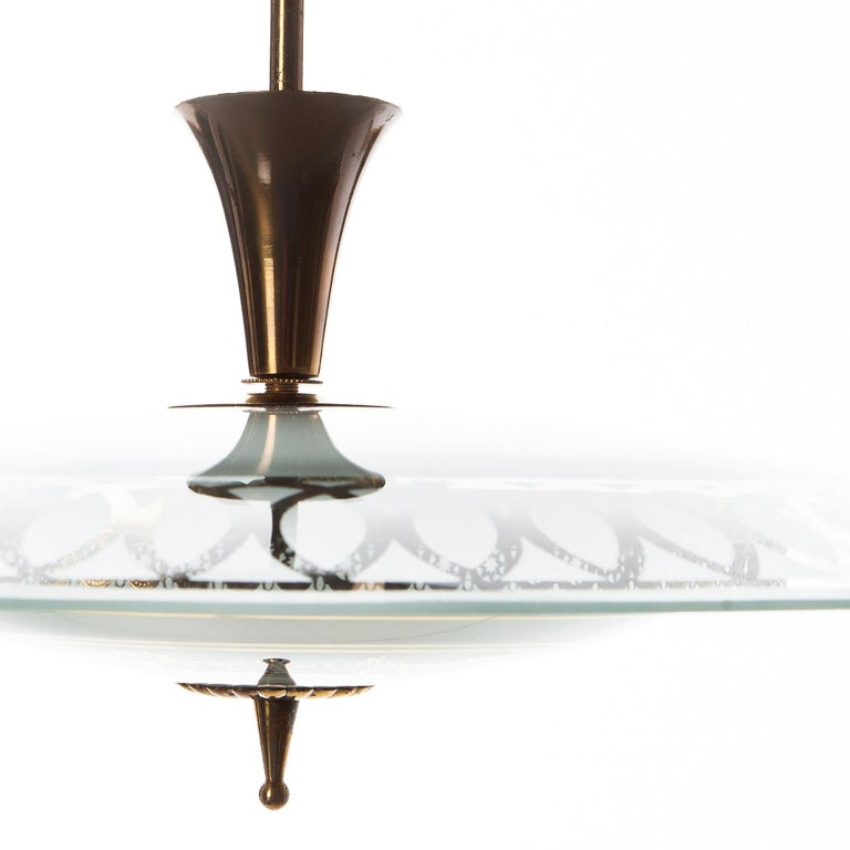 1950's Brass & Glass Pendant in Style of Pietro Chiesa For Sale 5