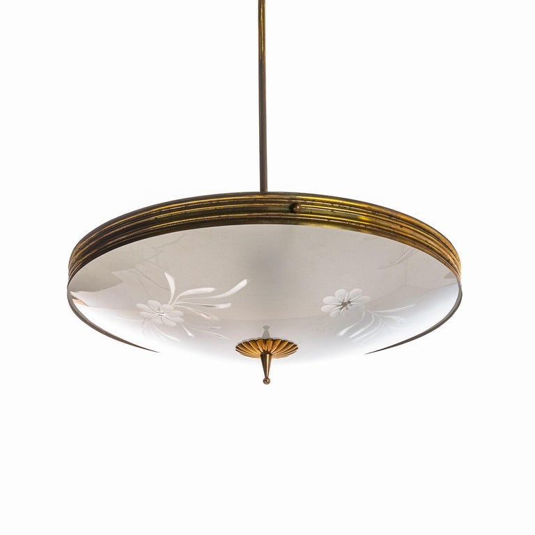 Mid-Century Modern 1950's Brass & Glass Pendant in Style of Pietro Chiesa For Sale