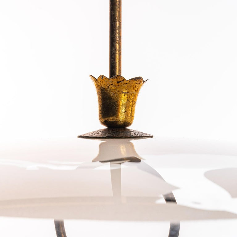 1950's Brass & Glass Pendant in Style of Pietro Chiesa In Good Condition For Sale In Amsterdam, NH