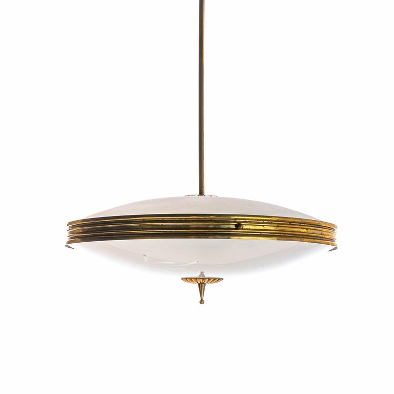 Italian 1950's Brass & Glass Pendant in Style of Pietro Chiesa For Sale