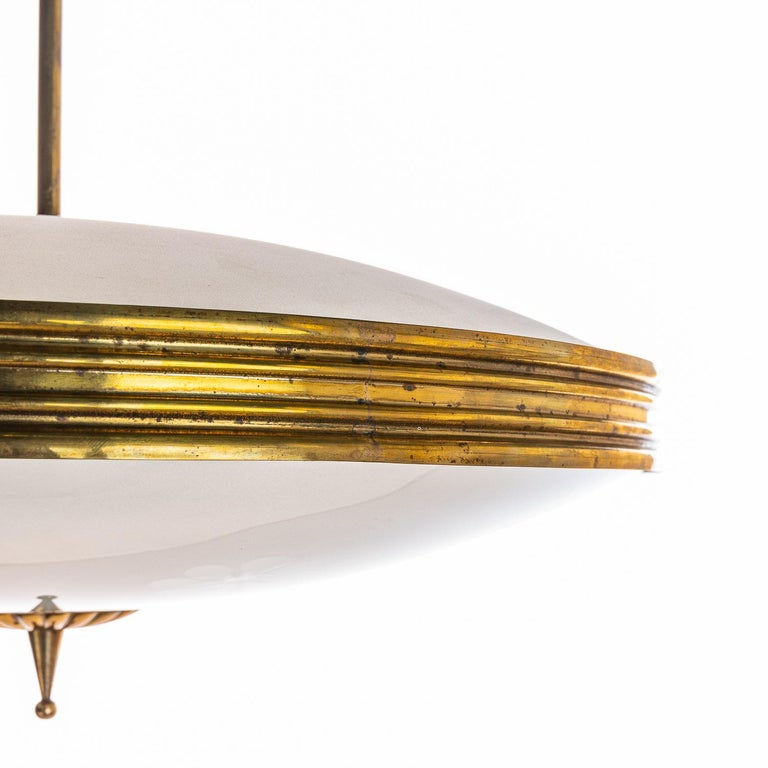 1950's Brass & Glass Pendant in Style of Pietro Chiesa For Sale 1