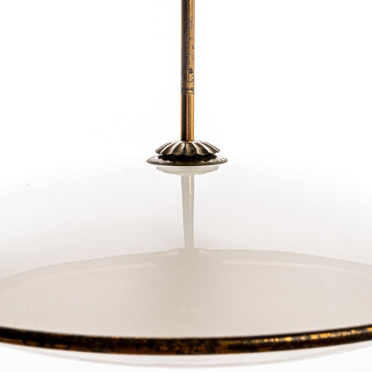 1950's Brass & Glass Pendant in Style of Pietro Chiesa For Sale 2