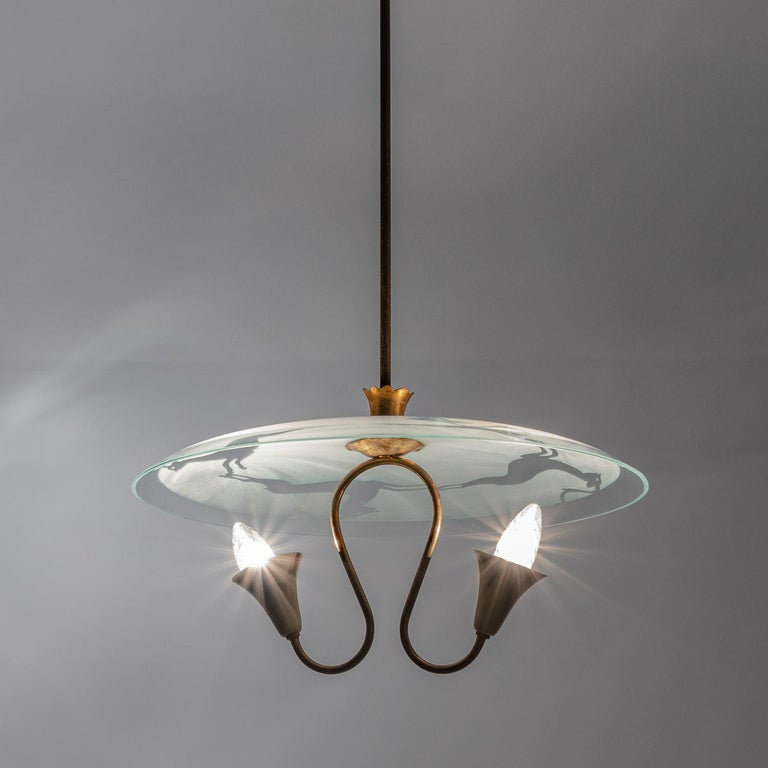 1950's Brass & Glass Pendant in Style of Pietro Chiesa For Sale 3