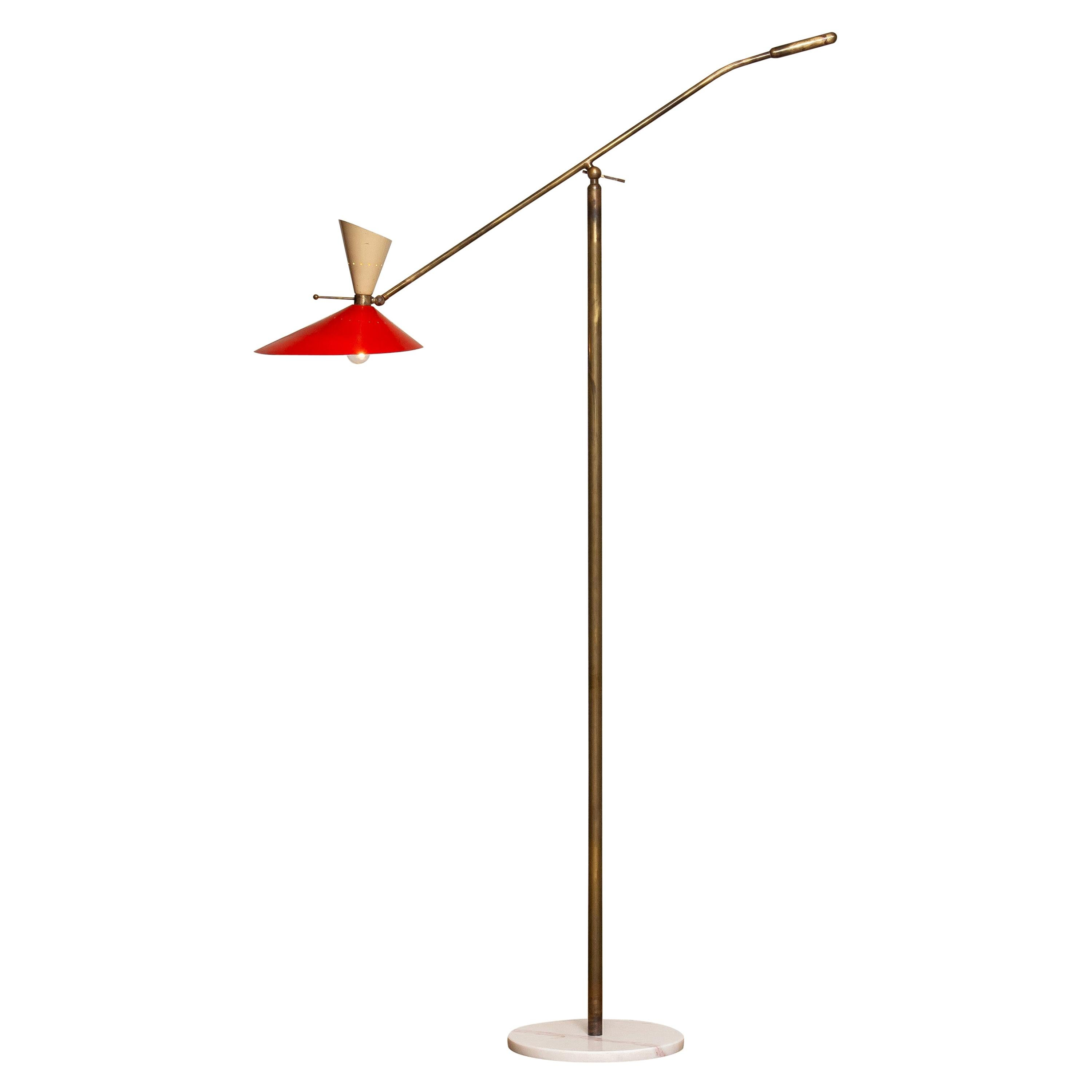 1950s Brass Italian Floor Lamp with Up and Down Light by Stilux Milano