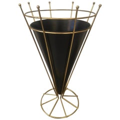 1950s Brass and Painted Metal Umbrella Stand