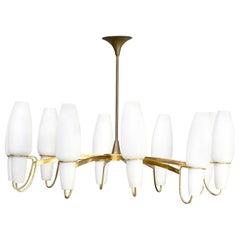 1950s Brass rare Opaline Glass Pendant Hanging Lamp