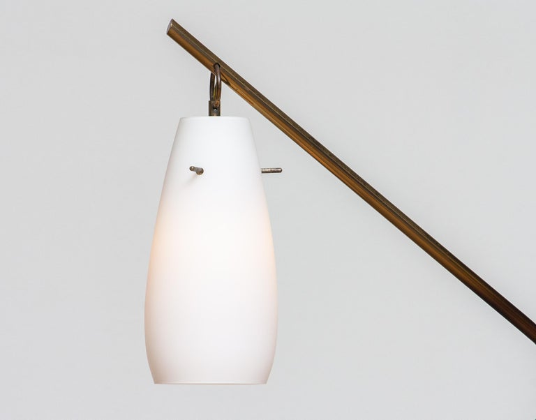 Mid-20th Century 1950s Brass Stilnovo Floor Lamp with Two Opaline Shades or Vases, Italy For Sale