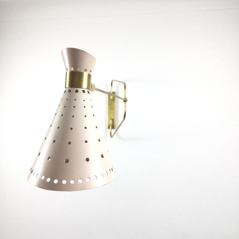 1950s Brass Swing Arm Wall Light in a Style of René Mathieu for Maison Lunel For Sale 2