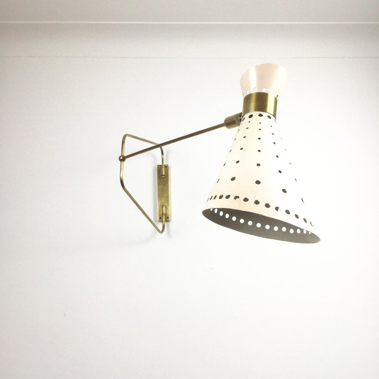 1950s Brass Swing Arm Wall Light in a Style of René Mathieu for Maison Lunel For Sale 3