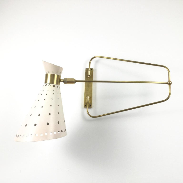 1950s Brass Swing Arm Wall Light in a Style of René Mathieu for Maison Lunel In Good Condition For Sale In London, GB
