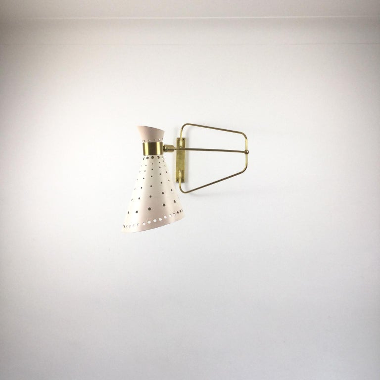 20th Century 1950s Brass Swing Arm Wall Light in a Style of René Mathieu for Maison Lunel For Sale
