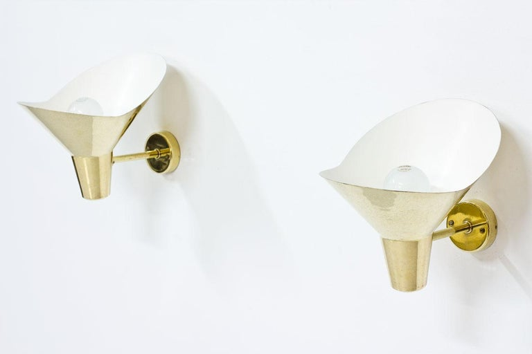 Swedish 1950s Brass Wall Lamps by Hans Bergström, Sweden For Sale