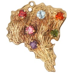 1950s Brazil 18 Karat Gold Charm with Multigemstones