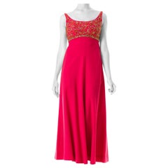 1960S MALCOLM STARR Hot Pink Wool Empire Waist Gown Beaded With Golden Crystal