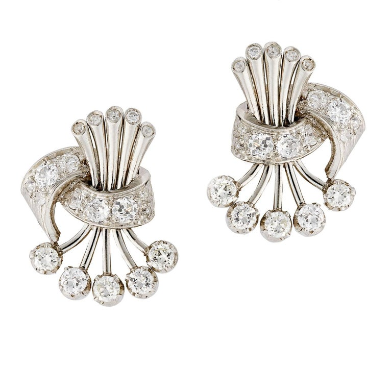 1950s Brilliant Cut Diamond Platinum and 18K White Gold Earrings