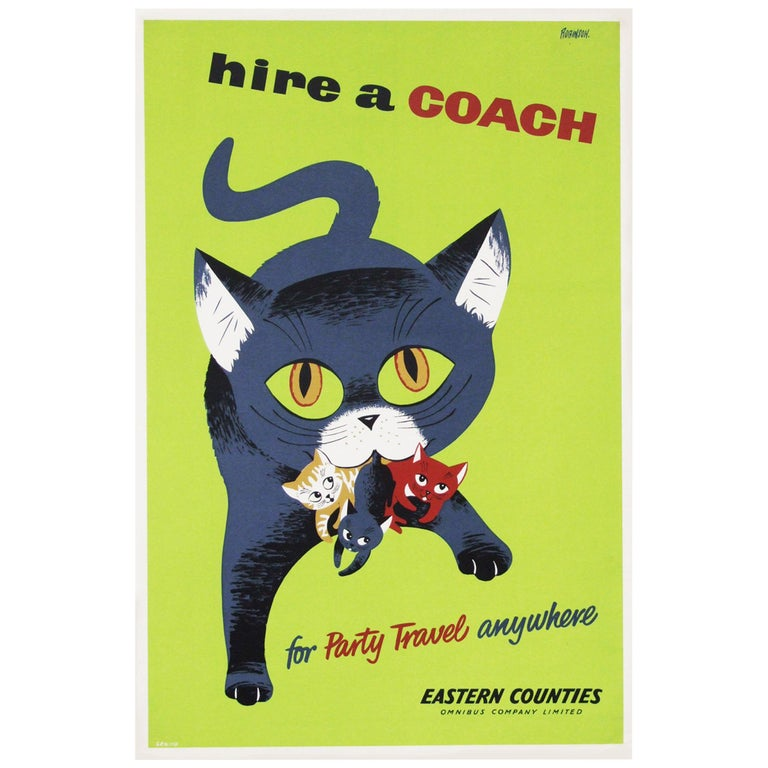 1950s promotional travel poster to hire a coach. Designed by Sheila Robinson for the Eastern Counties, UK. Rolled.  Measures: H 76 cm x W 51 cm.