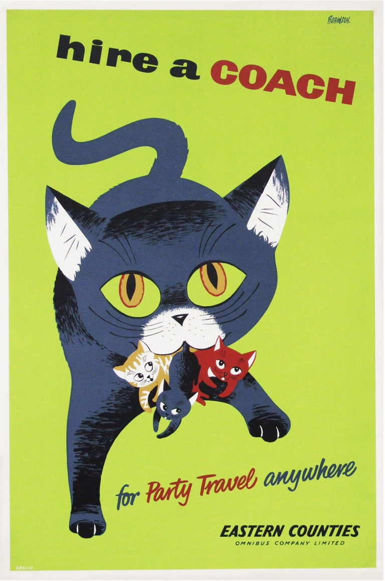 Mid-Century Modern 1950s British Coach Travel Poster Cat Illustration Design For Sale
