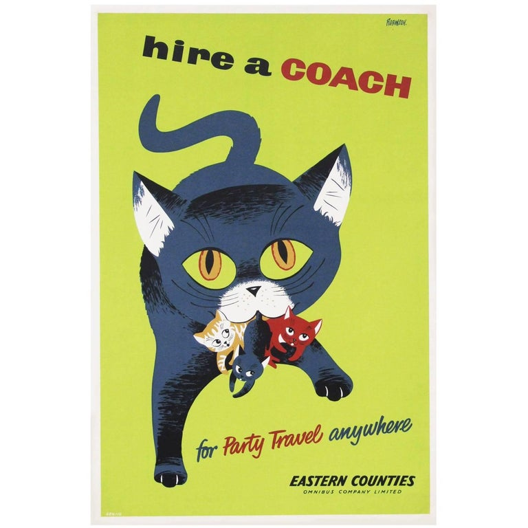 1950s British Coach Travel Poster Cat Illustration Design In Good Condition For Sale In Nottingham, Nottinghamshire