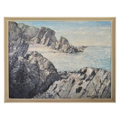 1950s British Coastal Scene Seascape Oil on Board Painting by Arthur E. Milne