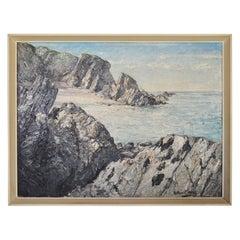 1950s British Coastal Scene Seascape Oil on Board Painting by Arthur E. Milne