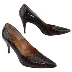 1950's Brown Alligator Stiletto Shoes Sz 8 B