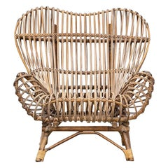 1950s Brown Basketwork Lounge Chair by Franco Albini