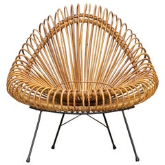 1950s Brown Basketwork Lounge Chair by Janine Abraham and Dirk Jan Rol