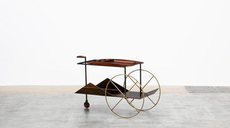Mid-Century Modern 1950s Brown Jacaranda Wood Bar Cart by Jorge Zalszupin 'd' For Sale