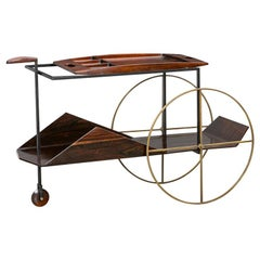 1950s Brown Jacaranda Wood Bar Cart by Jorge Zalszupin 'd'
