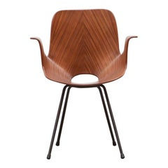 1950s Brown Mahogany Armchair by Vittorio Nobili 'B'