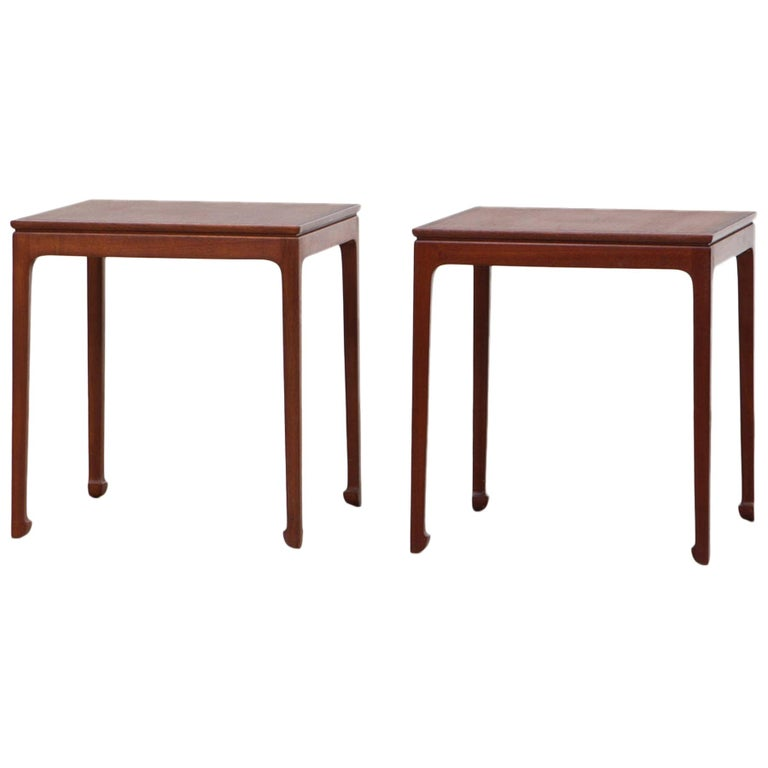 1950s Brown Mahogany Set of Side Tables by Ole Wanscher For Sale