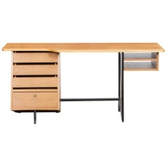 1950s Brown Oak Desk by Claude Vassal
