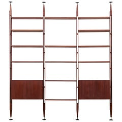 1950s Brown Teak and Aluminum Library by Franco Albini 'f'