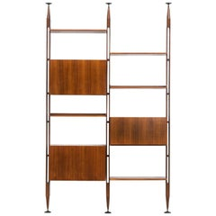1950s Brown Teak and Aluminum Library by Franco Albini 'g'